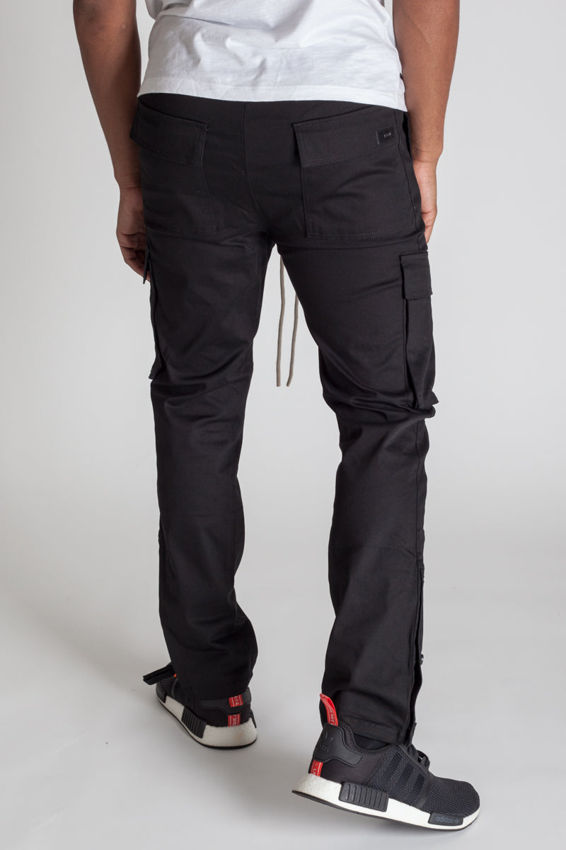 Snap Opening Cargo Pants (Black)