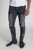 Pintucked Moto Jeans (Dark Medium Gray)