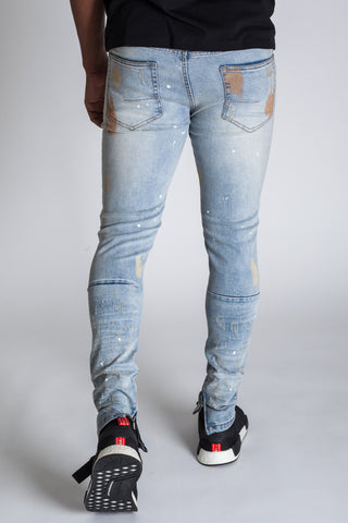 Painted Distressed Ankle Zip Jeans (Tinted Light Blue)