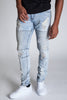 Pintucked Moto Jeans (Vintage Light Blue)