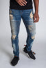 Pintucked Moto Jeans (Tinted Dark Blue)