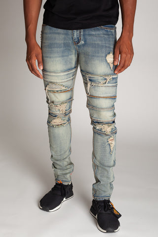 Destroyed Panel Jeans (Vintage Medium Blue)