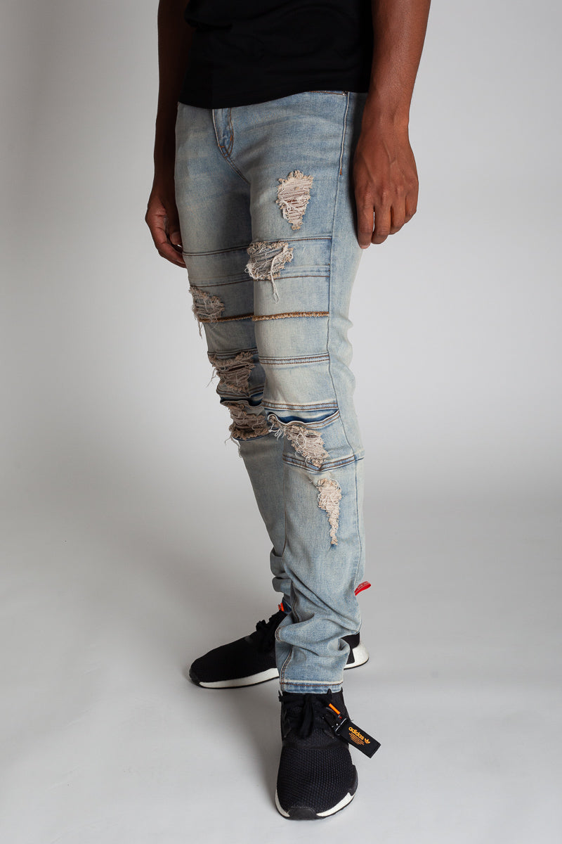 Destroyed Panel Jeans (Tinted Light Blue)