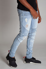 Bleach Spot & Paint Brushed Moto Jeans (Bleached Light Blue)