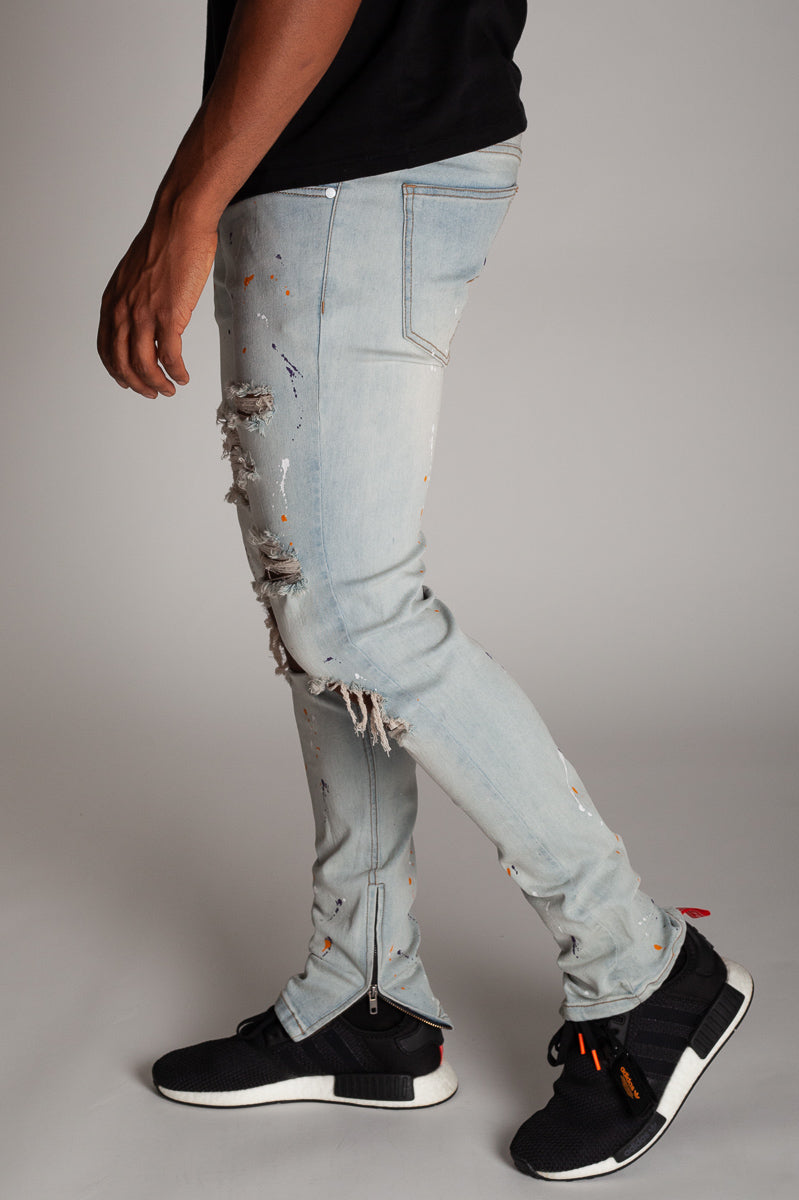 Painter Splatter Ankle Zip Jeans (Vintage Light Blue)
