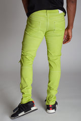 Colorful Dye Ankle Zip Pants (Lime)