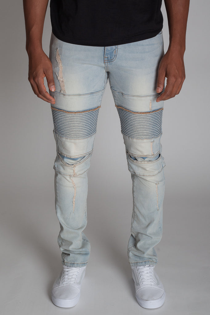 Distressed Biker Jeans (Tinted Light Blue)