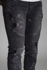 Bleach Spot & Paint Brushed Moto Jeans (Dark Medium Grey)