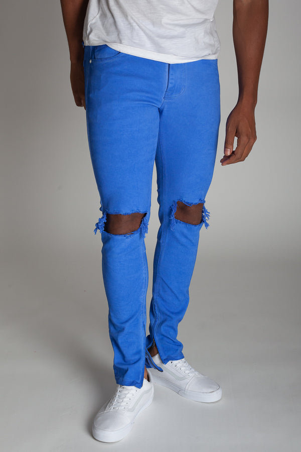 Colorful Ankle Zip Pants (Blue)