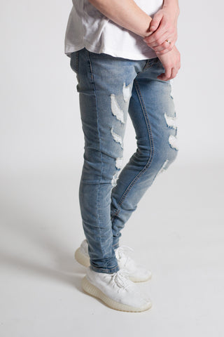Destroyed Skinny Jeans (Med. Blue)