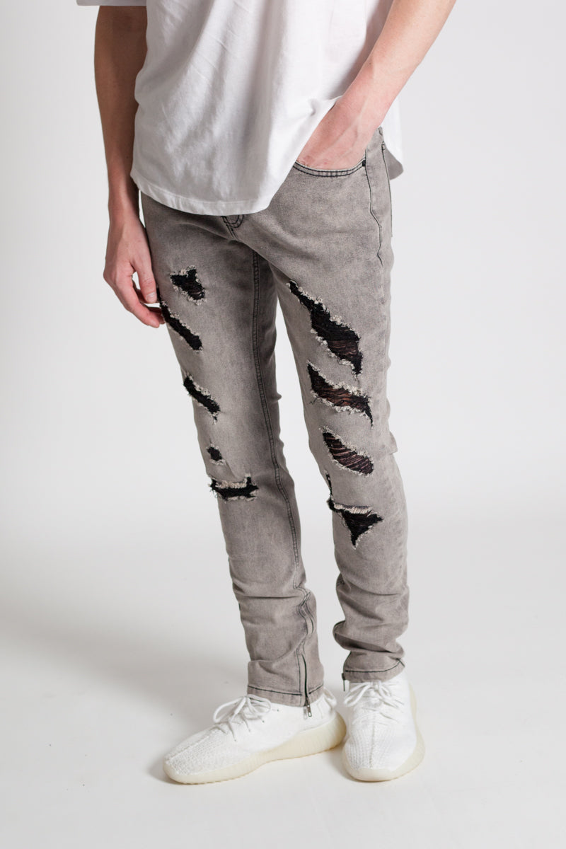 Destroyed Skinny Jeans (Grey)