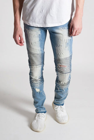 Destroyed Moto Jeans (Med. Blue)