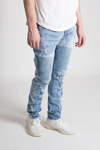 Destroyed Biker Jeans (Med. Blue)