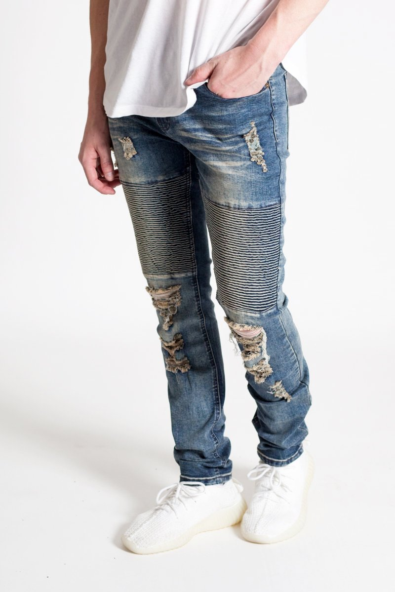 Destroyed Biker Jeans (Grey Blue)