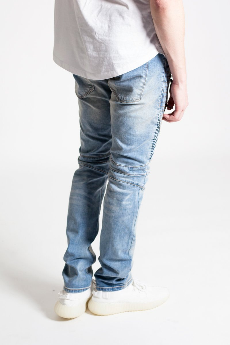 Acid Wash Moto Jeans (Med. Blue)