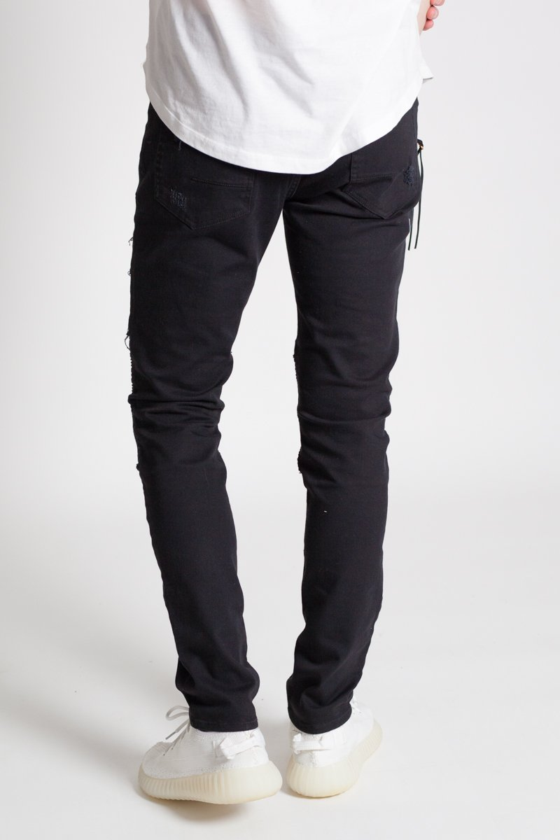 Distressed Moto Pants (Black)