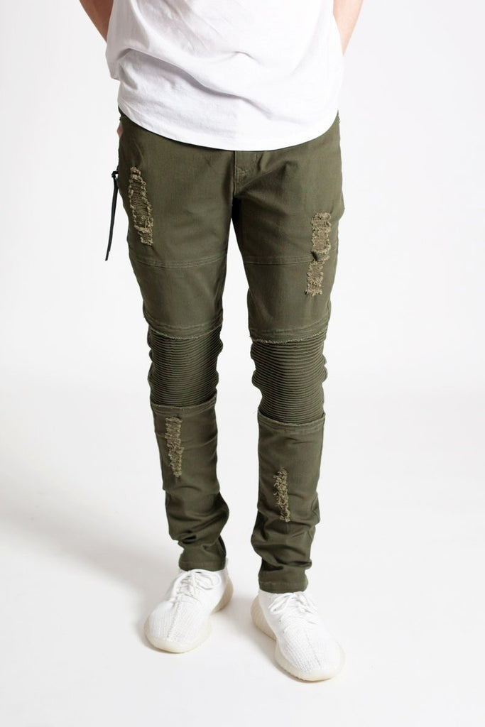 Distressed Moto Pants (Olive)