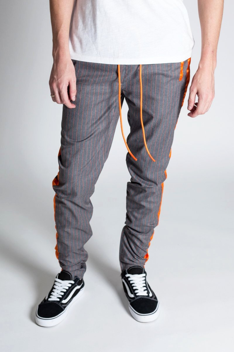 Satin Tape Track Pants with Ankled Zippers (Charcoal)