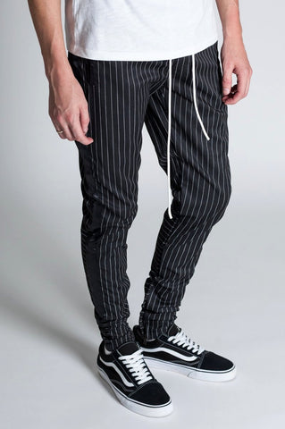 Satin Tape Track Pants with Ankled Zippers (Black)