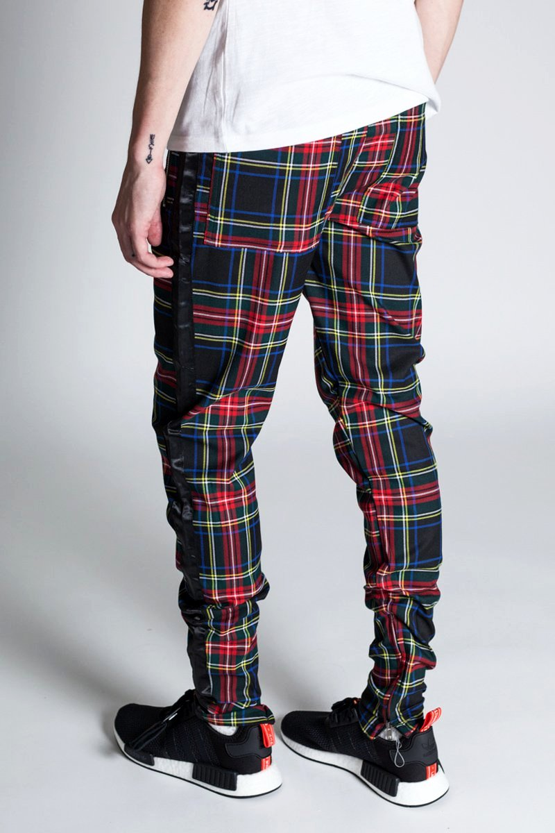 Plaid Track Pants with Ankled Zippers (Black)