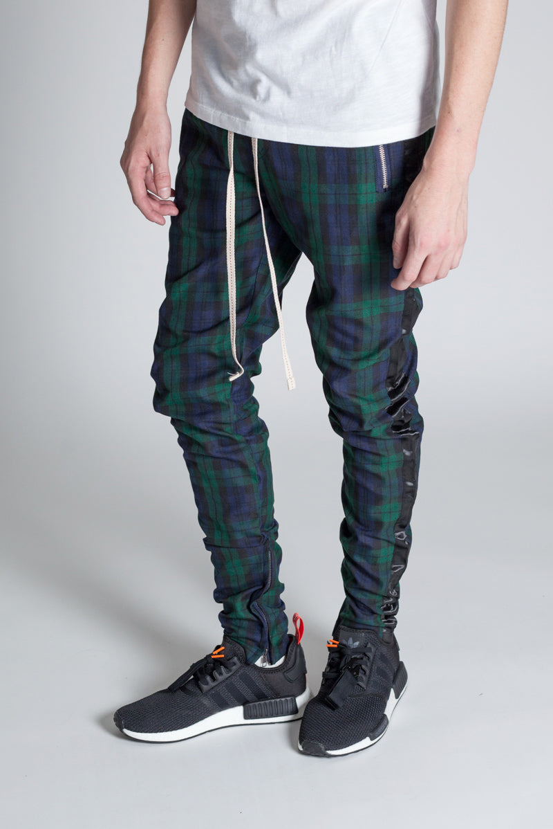 Plaid Track Pants with Ankled Zippers (Green)