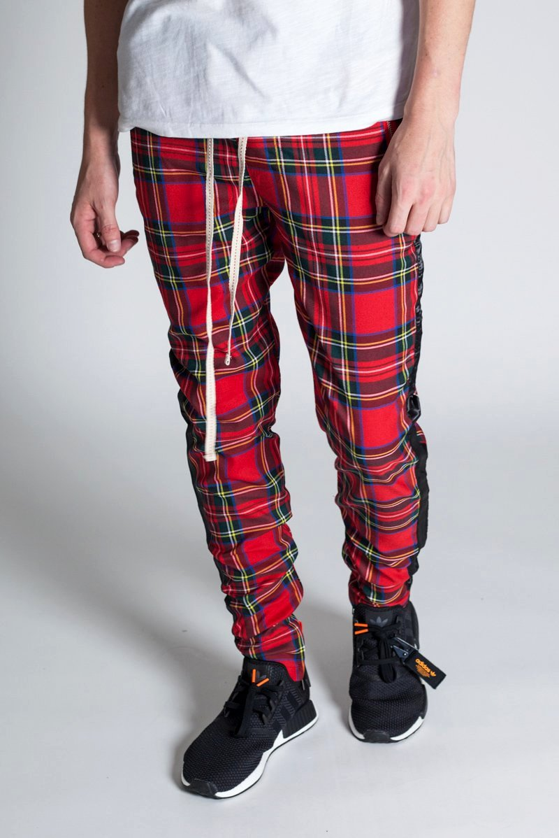 Plaid Track Pants with Ankled Zippers (Red)