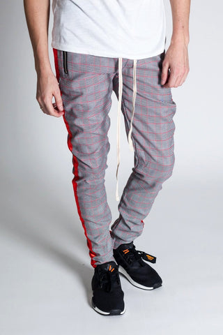 Plaid Track Pants with Ankled Zippers (Black / Red)