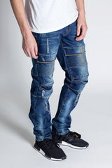 Distressed Biker Jeans (Aged Blue)