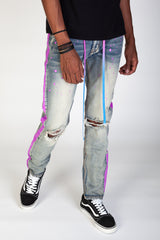 Paint Striped Jeans With Tie Dye Matching Drawstring (Vintage Medium Blue)