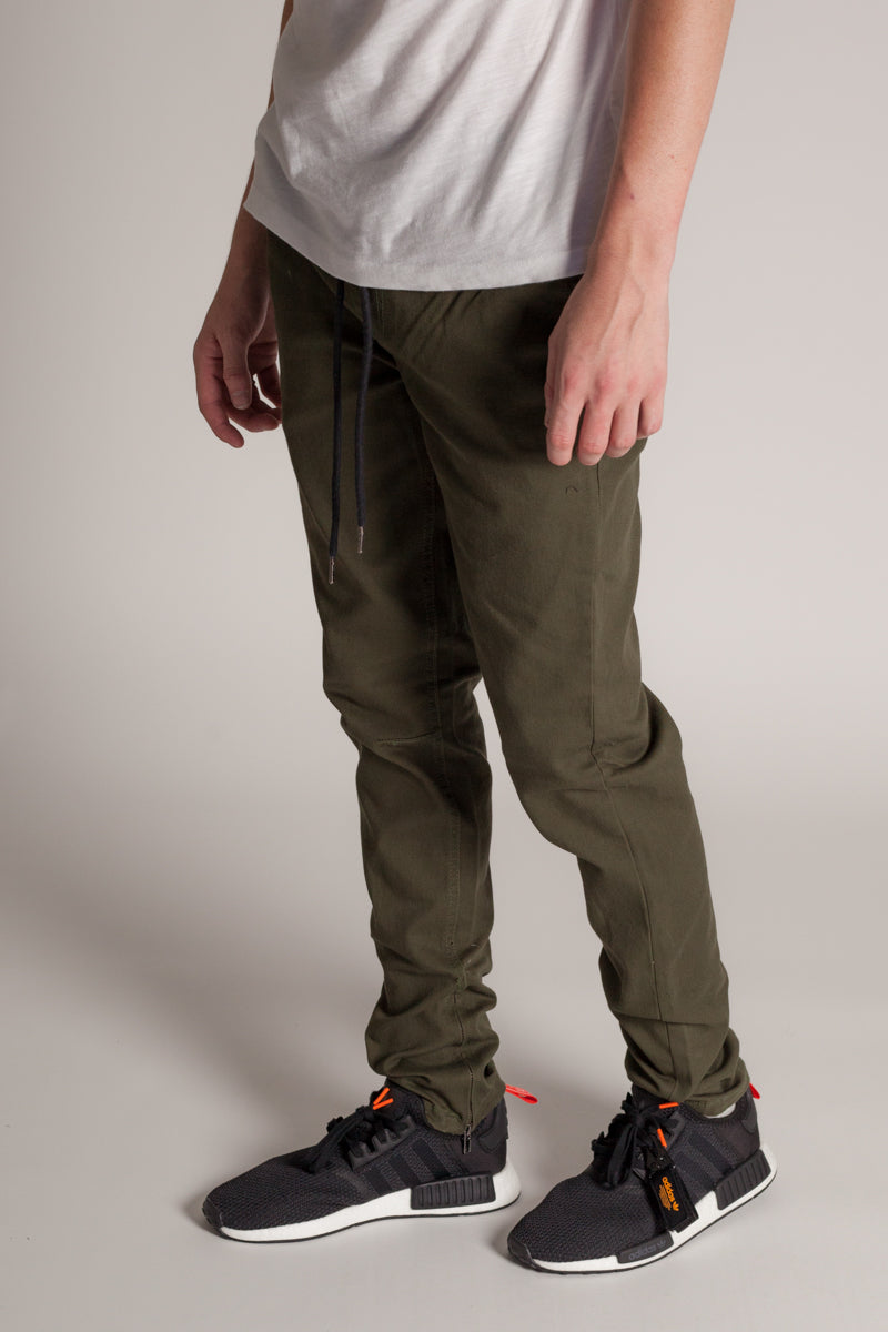 Ankle Zip Jeans (Olive)