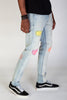 Rip & Repair Skinny Jeans With Neon Stitching (Tinted Light Blue)