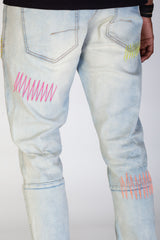 Rip & Repair Skinny Jeans With Neon Stitching