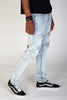 Zebra Patch Jeans With Paint Splatter (Blue)