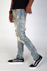 Distressed and Destroyed Knee Skinny Jeans (Blue)
