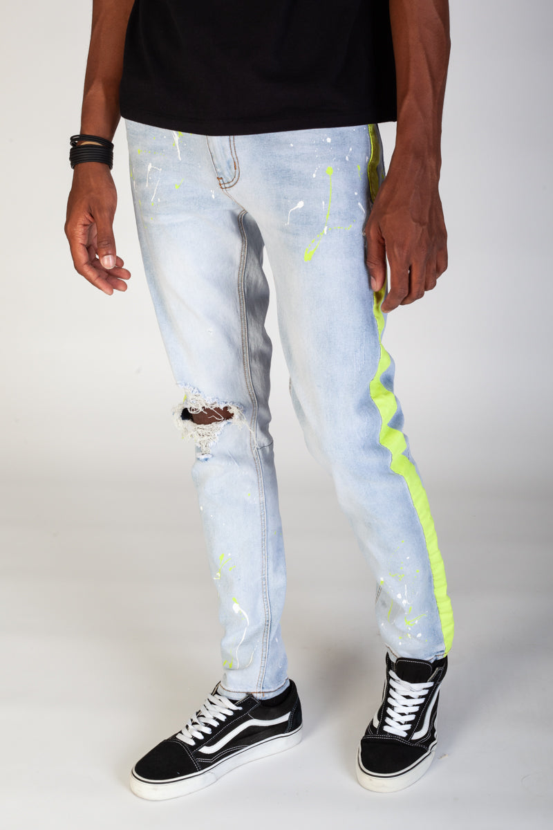 Print Stripe Jeans w/ Paint Splatter (Light Blue)