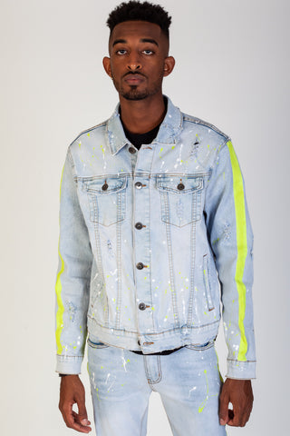 Paint Striped Denim Jacket w/ Neon Paints Splatter (Light Blue)