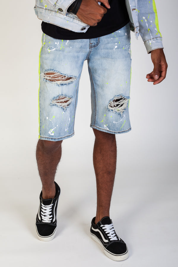 Paint Striped Shorts With Paint Splatter (Light Blue)