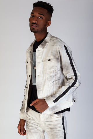 Smoke Twill Jacket With Side Stripes (White Smoke)