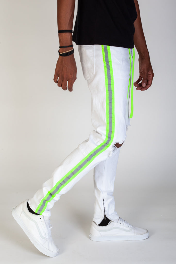 Reflective Taped Pants (White/Lime)