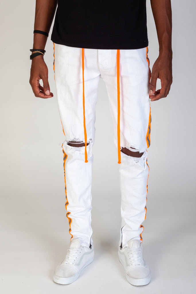 Safety Taped Pants (White/Orange)