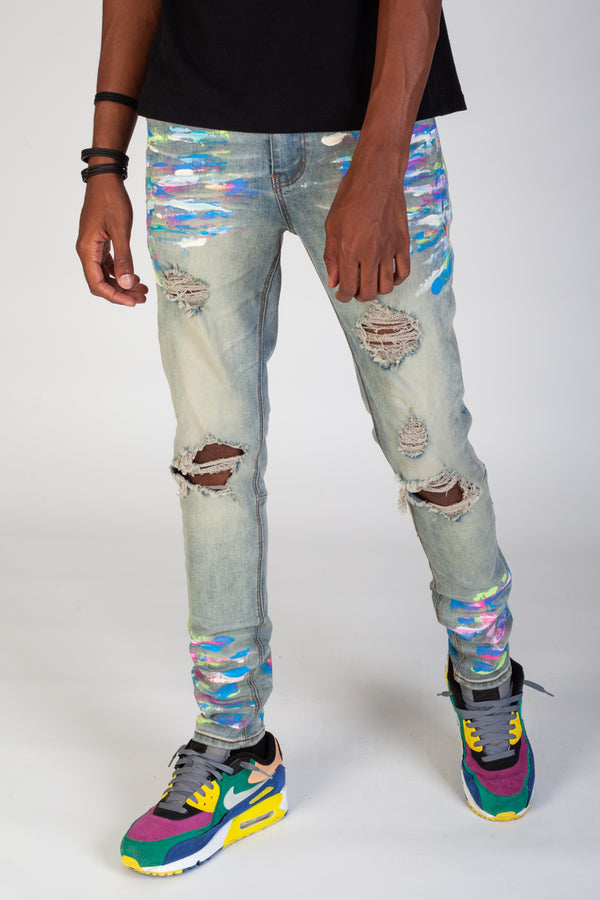 Ripped Jeans with Multi-Paint Splatter (Tinted Light Blue)