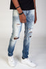Destroyed and Distressed Skinny Jeans (Faded Blue)