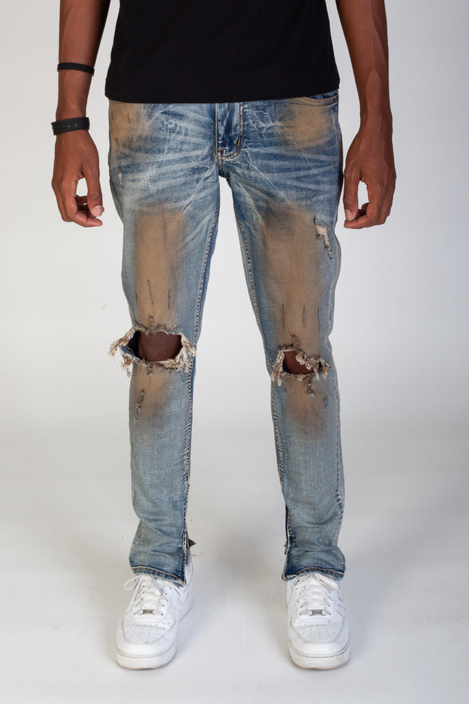Skinny Fit Ankle Zip Jeans (Rust Blue)