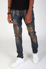 Destroyed and Distressed Skinny Jeans (Dusty Blue)