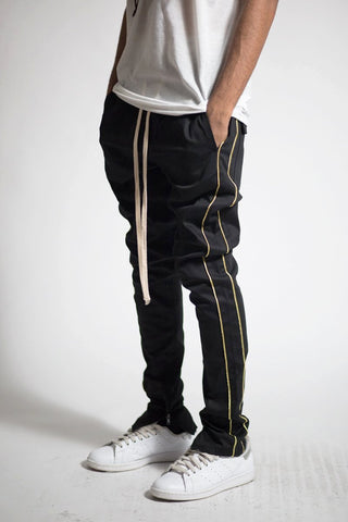 Striped Track Pants with Ankled Zippers Ver. 2.0 (Black/Gold)