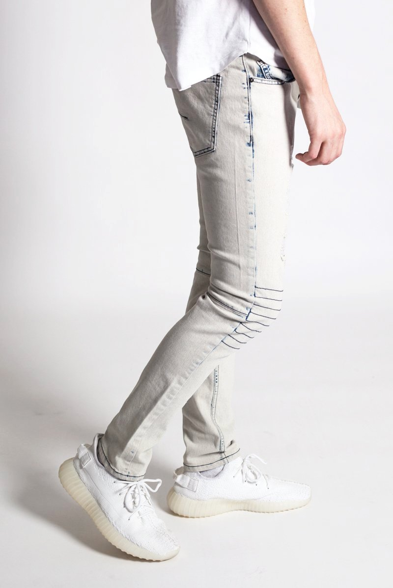 Padded Moto Jeans (Ice Blue)