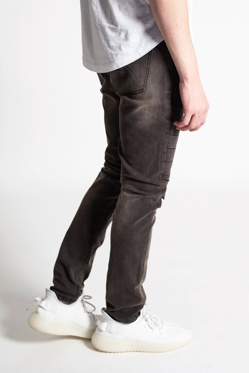 Padded Moto Skinny Jeans (Brown Black)