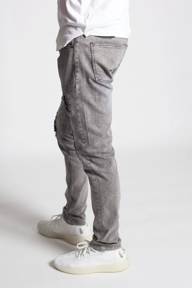 Distressed Moto Skinny Jeans (Grey)