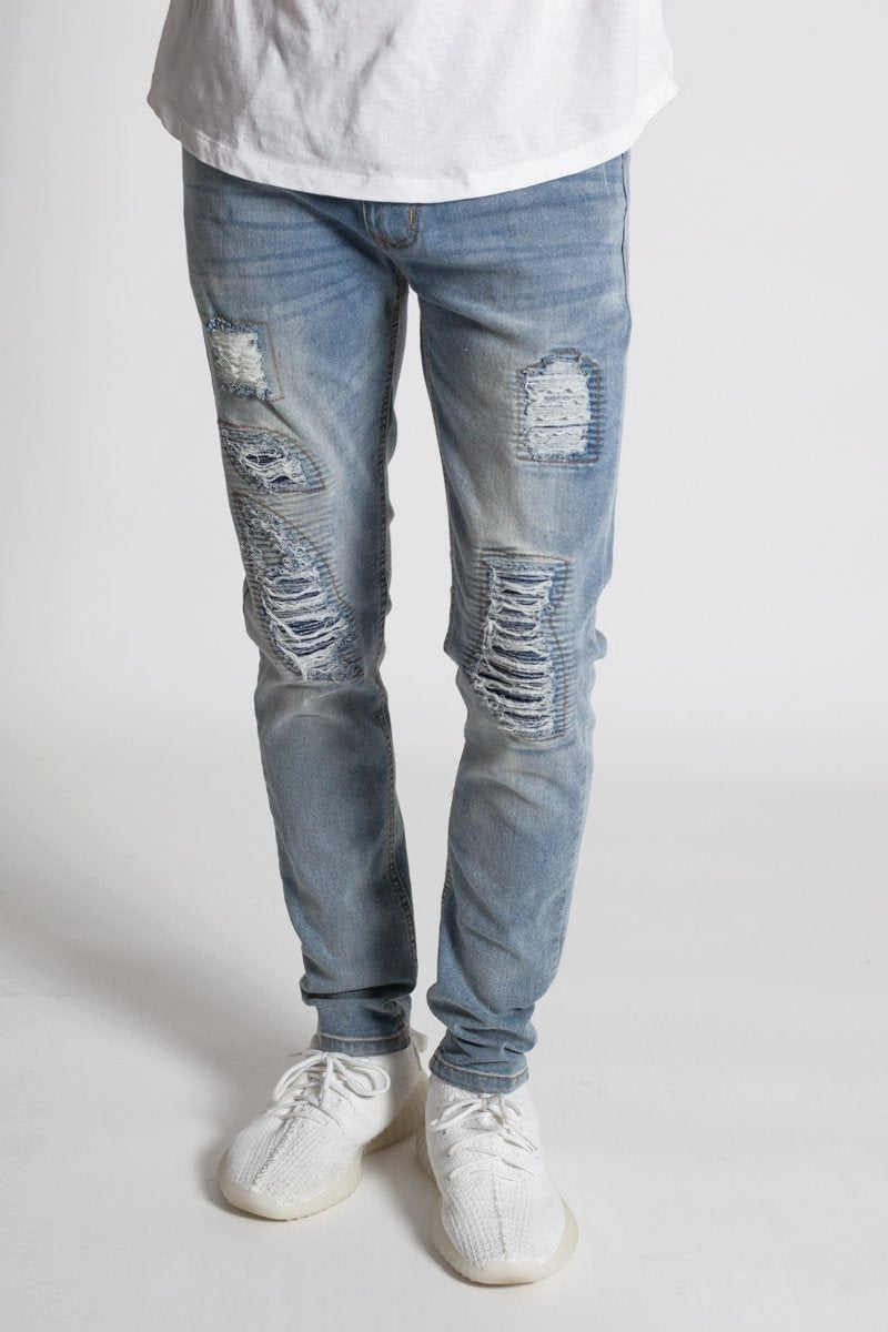 Distressed Moto Skinny Jeans (Med. Blue)