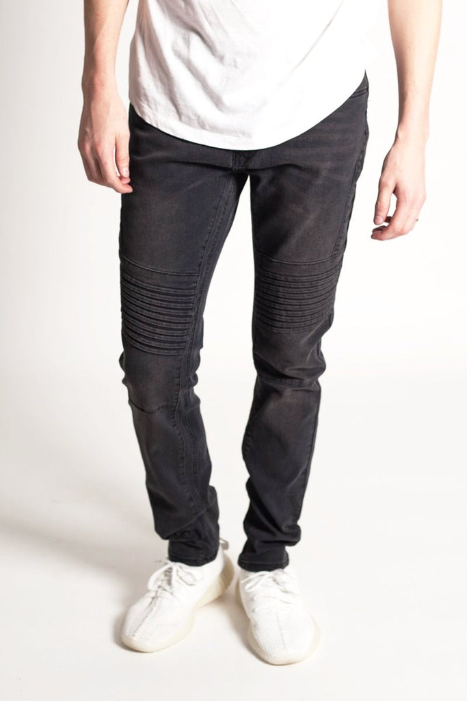 Pin Tucked Skinny Jeans (Black)
